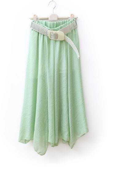 Light-green Asymmetrical Sweep Skirt