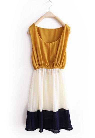 Yellow Stripe Patchwork Chiffon Tank Dress