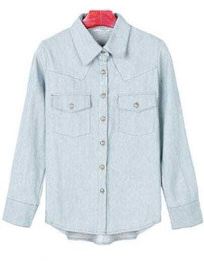 Long-sleeved Loose Denim Shirt Light Blue