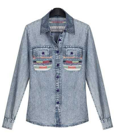 Vintage Patch Long-sleeved Denim Shirt