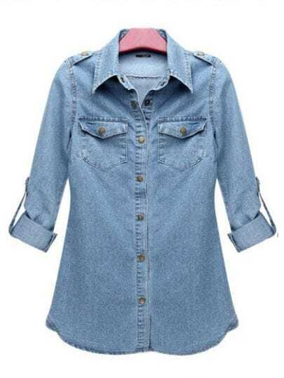 Slim Long-sleeved Denim Bottoming Shirt