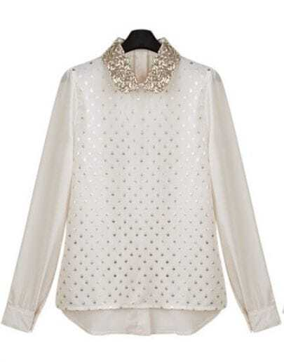 Vintage Sequined Long-sleeved Chiffon Shirt Beige