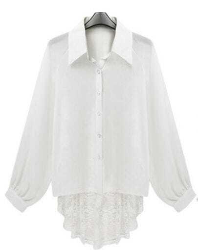 Irregular Lace Hem Long-sleeved Chiffon Shirt White
