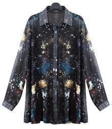 Black Galaxy Star Printed Long-sleeved Chiffon Shirt
