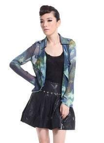 Perspective Star Motorcycle Chiffon Short Jacket Blue