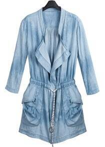 Denim Waist Three Quarter Length Sleeve Coat