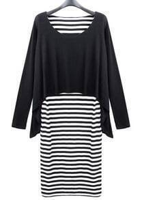 Loose Striped Long-sleeved Dress