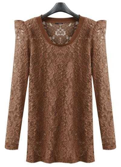 Brown Floral Lace Long Sleeve Shrug Shoulder T-shirt