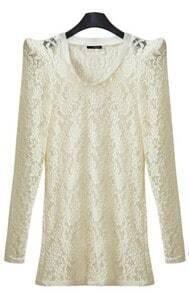 White Floral Lace Long Sleeve Shrug Shoulder T-shirt