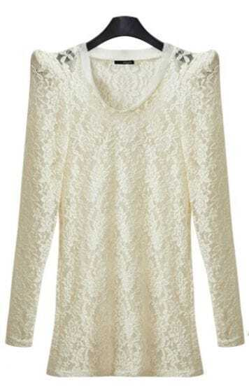 White Floral Lace Long Sleeve Shrug Shoulder T-shirt