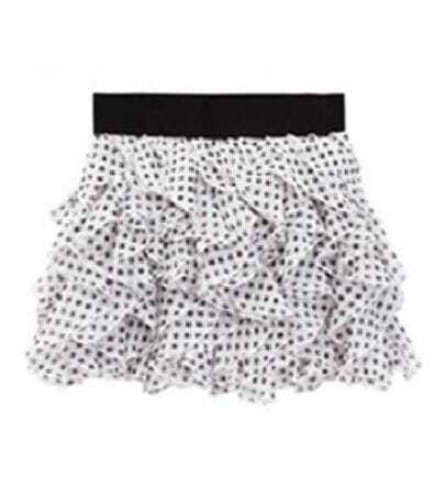White Ruffles Chiffon Mini Skirt