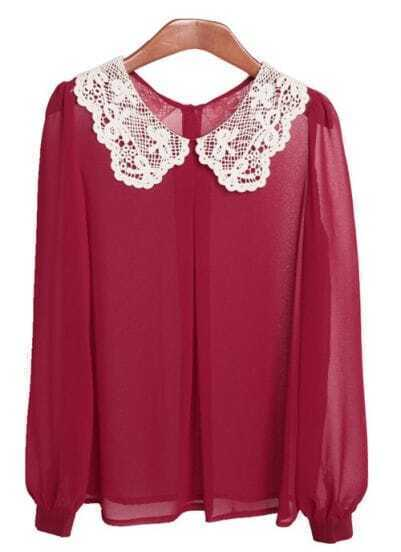 Wine-red Lace Collar Chiffon Shirt