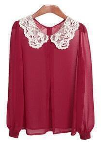 Wine-red Lace Collar Chiffon Shirt