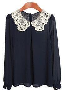 Blue Lace Collar Chiffon Shirt