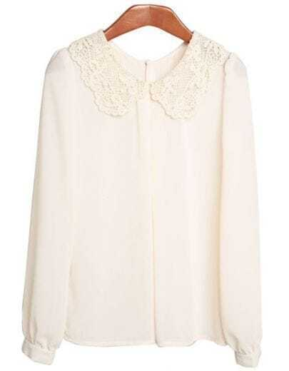 White Lace Collar Chiffon Shirt