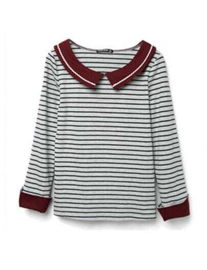 Blue Grey Stripe Long Sleeve Contrast Lapel Sailor T-shirt