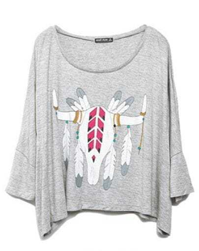Grey Feather OX Head Print Scoop Neck T-shirt