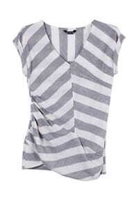 Grey White Asymmetric Stripe V-neck Short Sleeve T-shirt