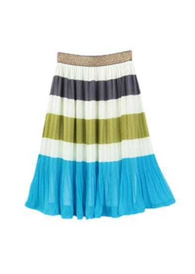 Rainbow Bule Sweep Pleated Skirt