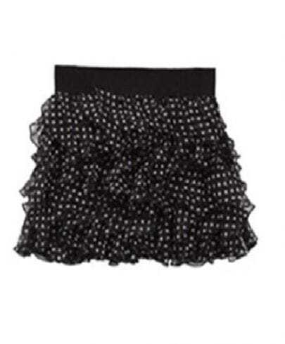 Black Ruffles Chiffon Mini Skirt