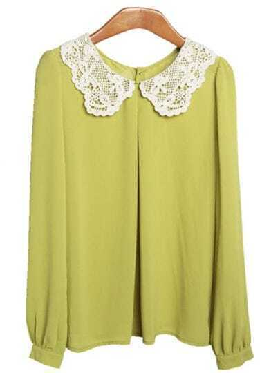 Yellow Lace Collar Chiffon Shirt