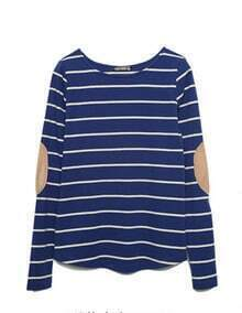 Blue-white Stripe Long Sleeve T-shirt with Elbow Patched