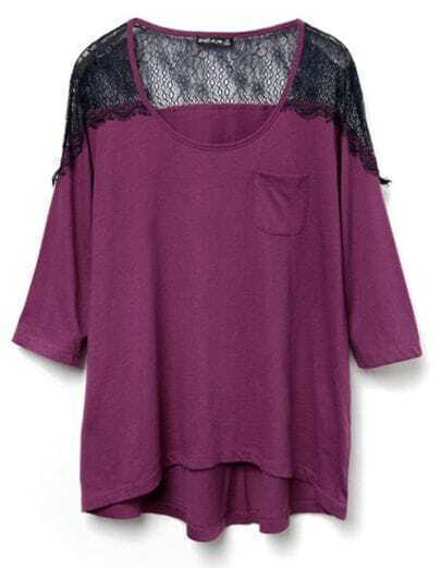 Purple Three Quarter Length Sleeve Pocket T-shirt with Lace Shoulder