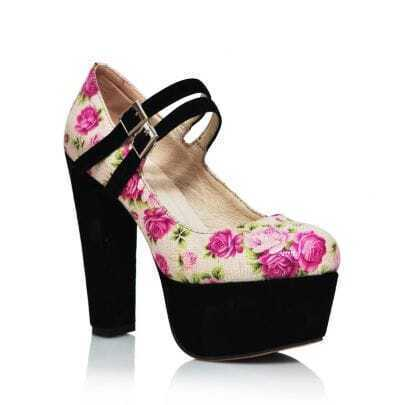 Floral High Heel Platform Mary-Jane Pump