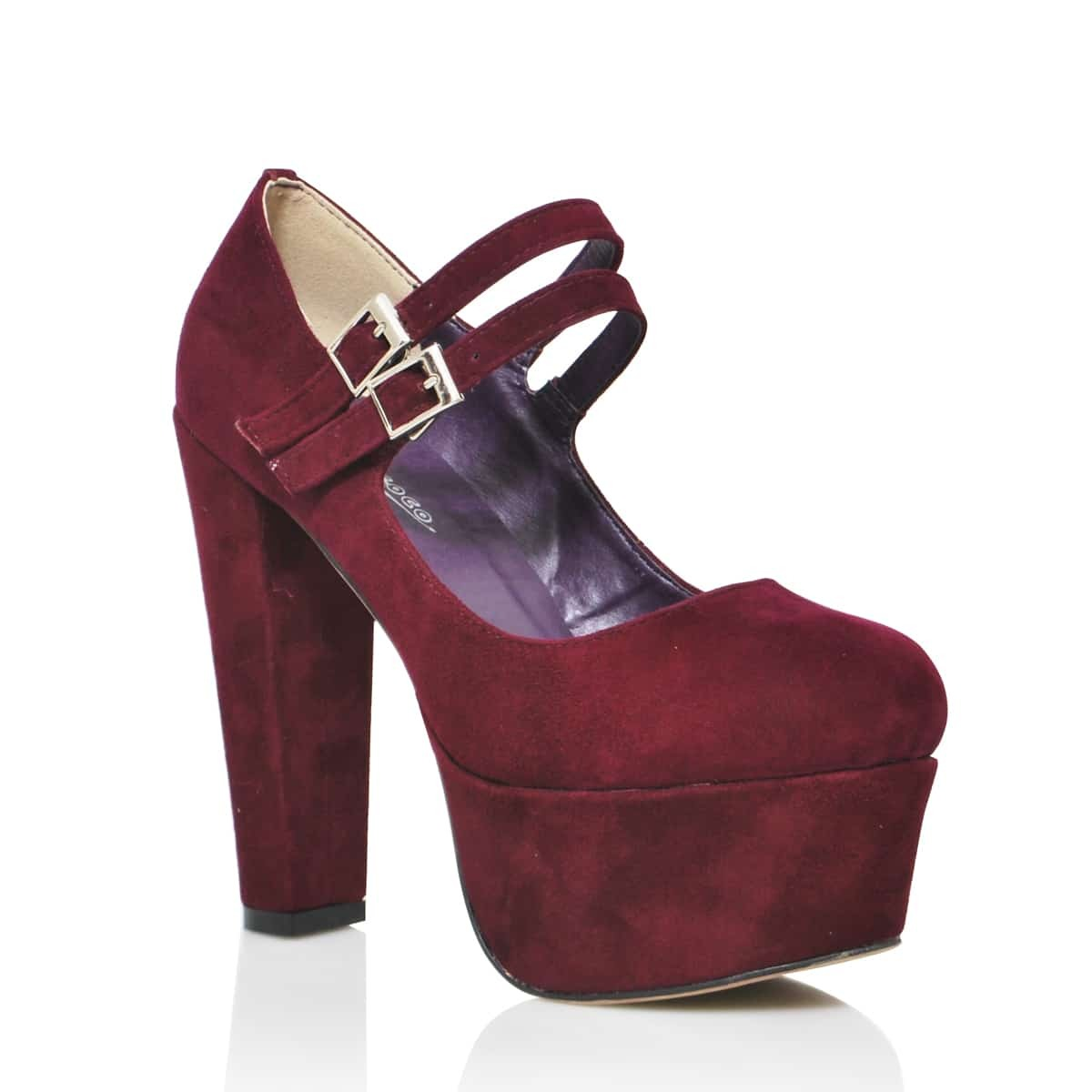 Red wine Suede High Heel Platform Mary-Jane Pump -SheIn(Sheinside)