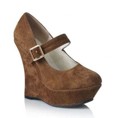 Platform Mary Jane Suede Wedge Kaki