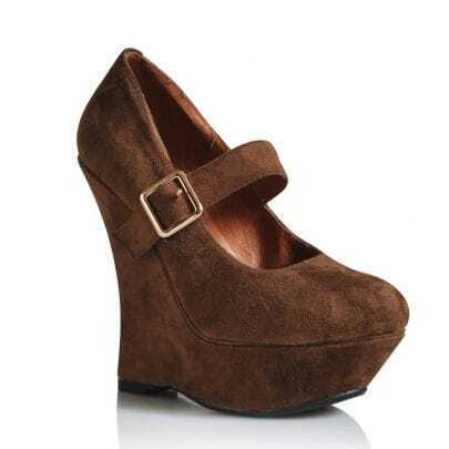Platform Mary Jane Suede Wedge Brown
