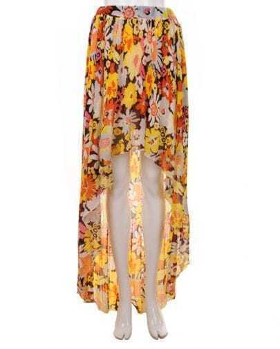 Bohemia Printing Pleated Chiffon Skirt