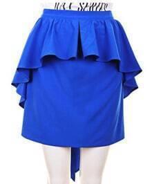 High Waist ;Pleated Package Hip Skirt Blue