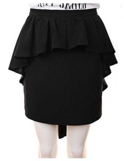 High Waist ;Pleated Package Hip Skirt Black