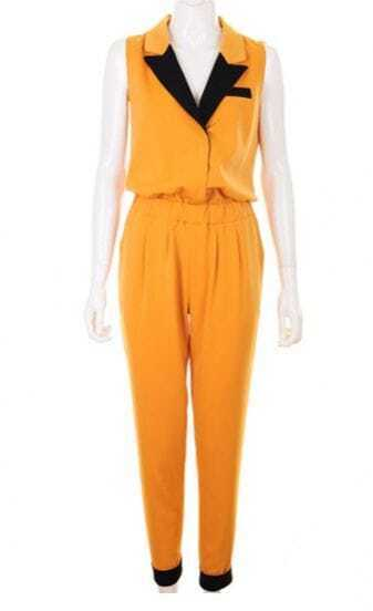 Candy Color Casual Jumpsuit Yellow