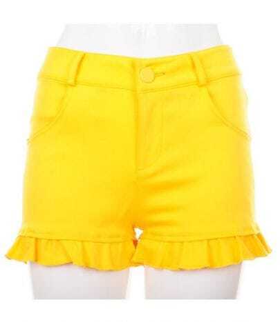 Vintage Candy Color Package Hip Shorts Yellow