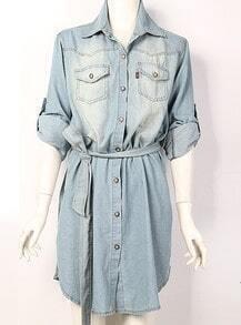 Long-sleeved Lapel Denim Shirt