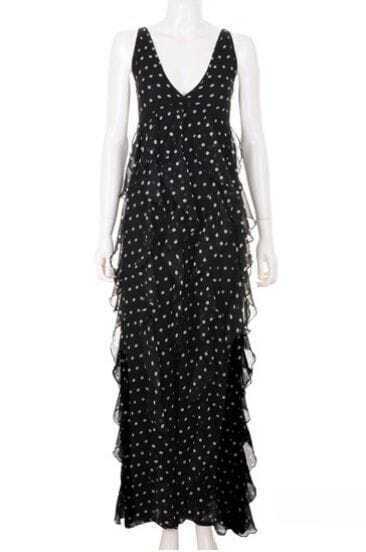Vintage V Neck Pokal Dot Pleated Dress