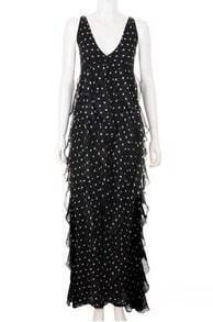 Vintage V Neck Pokal Dot Pleated Dress