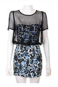 Floral Short-sleeved Slim Dress