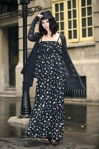 Vintage Star Printing Spaghetti Strap Dress Black