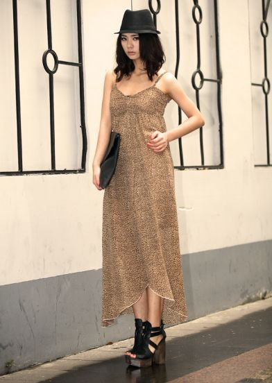 Leopard Spaghetti Strap Long Dress