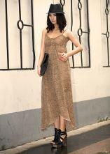 Leopard Spaghetti Strap Long Dress