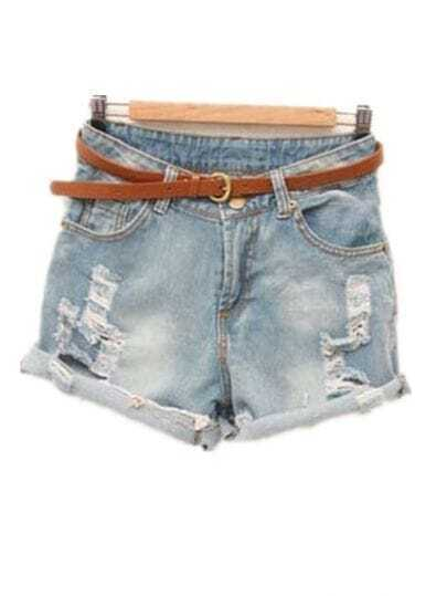 Flanging Loose Denim Shorts Light Blue