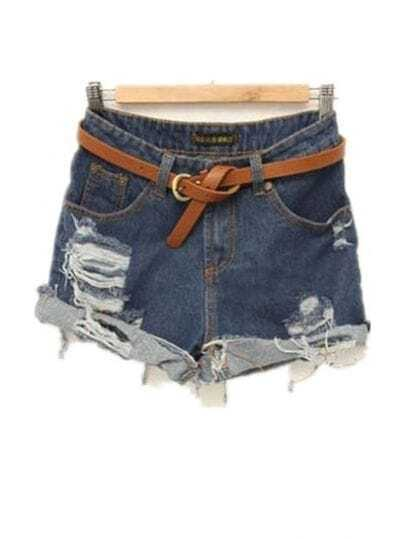 Flanging Loose Denim Shorts Dark Blue