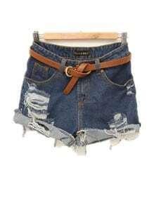 Flanging Loose Denim Shorts Dark Blue