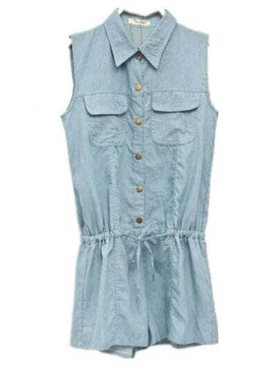 Sleeveless Denim Jumpsuit Light Blue