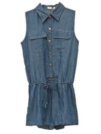 Sleeveless Denim Jumpsuit Dark Blue