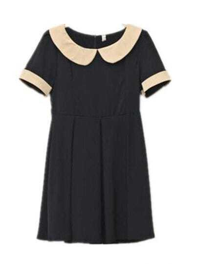 Vintage Collar High Waist Dress Black