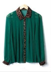 Stiching Leopard Collar Chiffon Shirt Green